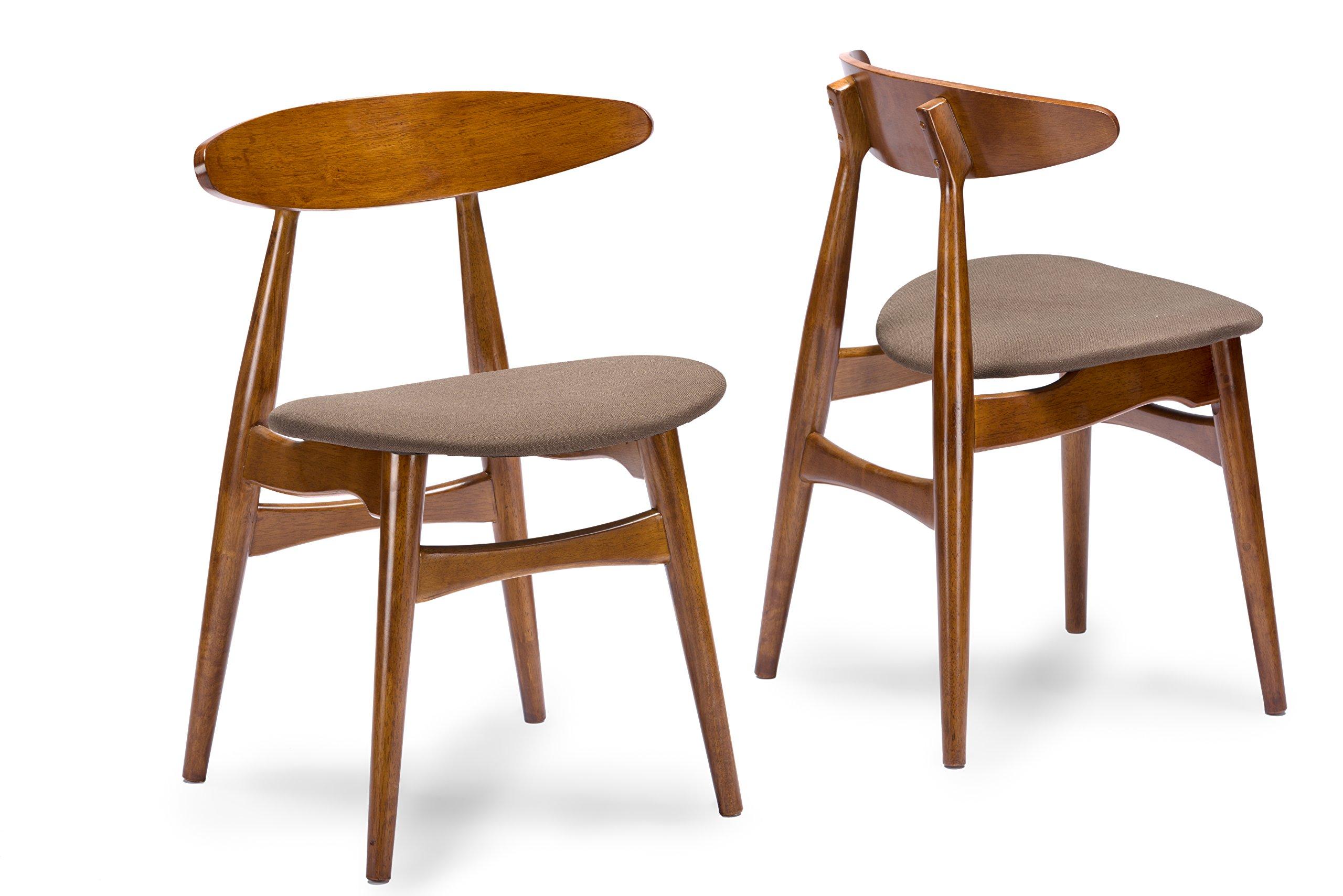Baxton Studio Set of 2 Flamingo Mid-Century Dark Walnut Wood and Grey Faux Leather Dining Chairs - Mid-Century design set of 2 dining chairs Solid rubber wood with dark walnut veneer finishing, twill fabric Grey fabric with foam padding - kitchen-dining-room-furniture, kitchen-dining-room, kitchen-dining-room-chairs - 81XU2kbZOQL -