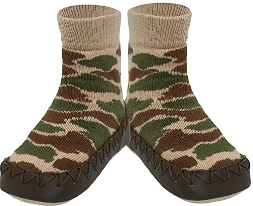 Amazon.com: Konfetti Wammo Cammo Camouflage Pattern Kids Swedish Moccasins Slipper Socks: Shoes