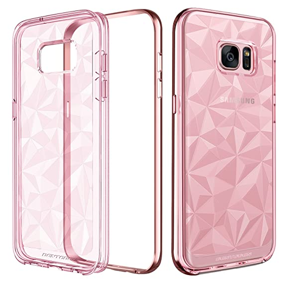 BENTOBEN Compatible with Phone Case Samsung Galaxy S7 Edge, Clear Crystal Slim 3D Geometric Design Soft TPU Hard PC Frame Hybrid Shockproof Protective ...