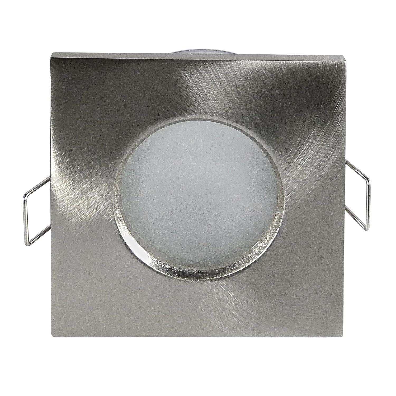 LED Lampade, lampada led da bagnato Outside–Rettangolare–IP65, nickel, geb.–3lampadina a led da w, 280Lumen, Luce Bianca Fredda–Dimmerabile–GU10&nda