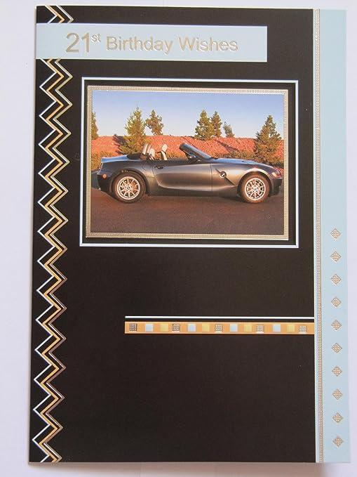 Fantastische Farbige Bmw Z Auto Cabrio 21 Geburtstag Grusskarte