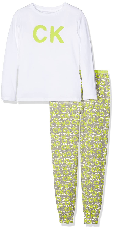 Calvin Klein ID Knit PJ Set (l/s+Pant), Pantalones de Pijama para Niñas, (White W/CK Spray Logo Medium Grey 107), 140 (Talla del Fabricante: 10-1): ...