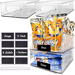 Kitchen Organization and Storage Bins 4 Pack - Pantry Organization and Storage - Pantry Storage Set - Fridge Organizer and Food Storage Bins - Kitchen Storage - Clear Pantry Storage Bins for Snacks
