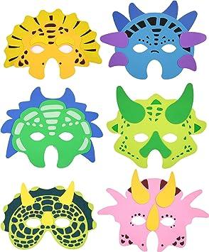 Máscaras de 6 * * Dinosaurios para Fiestas de Cumpleaños Infantil o temática//Espuma