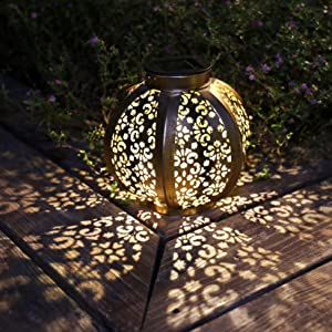 neemor Solar Lantern Lights Outdoor Hanging Light Garden Decor Outside Powered Waterproof LED Lights with Retro Design for Patio Yard Table Pathway Decoration Lamp(Bronze)