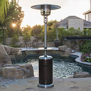 BELLEZE 48000BTU Portable Propane Patio Heater (Bronze) Stainless Steel Hammer Finished Space Stove with Wheels & Table for Outdoor