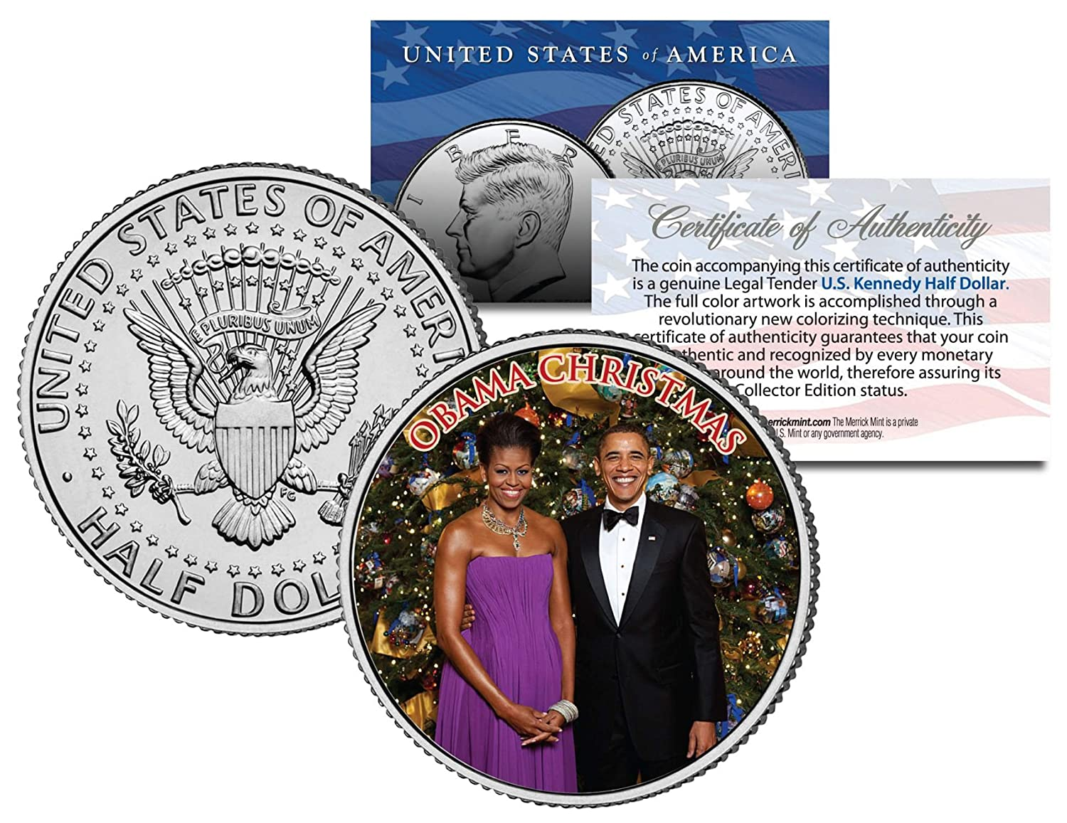OBAMA CHRISTMAS Colorized JFK Kennedy Half Dollar U.S Coin MICHELLE /& Barack
