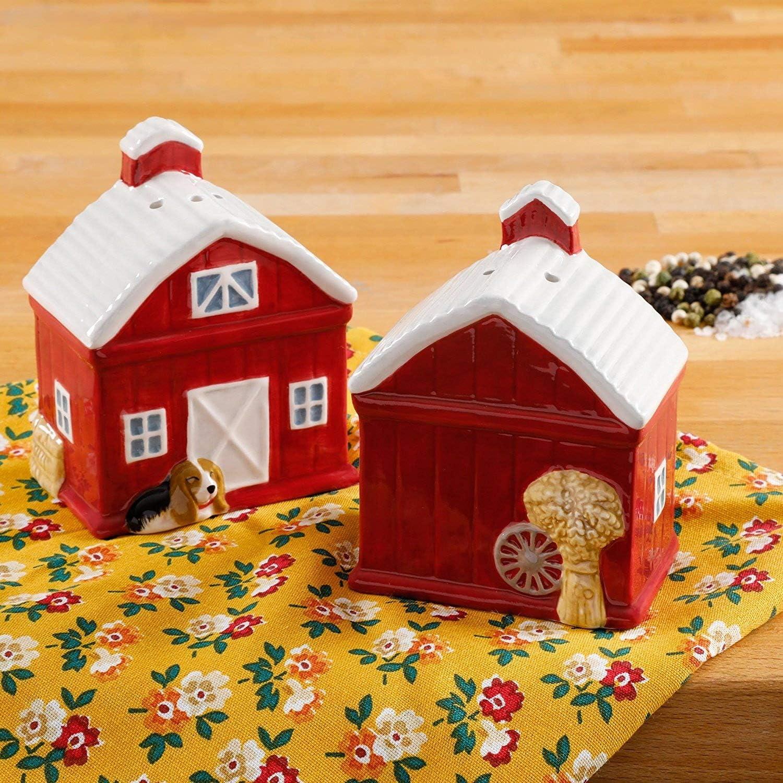 Pioneer Woman Rustic Barn Ceramic Salt & Pepper Shaker Set