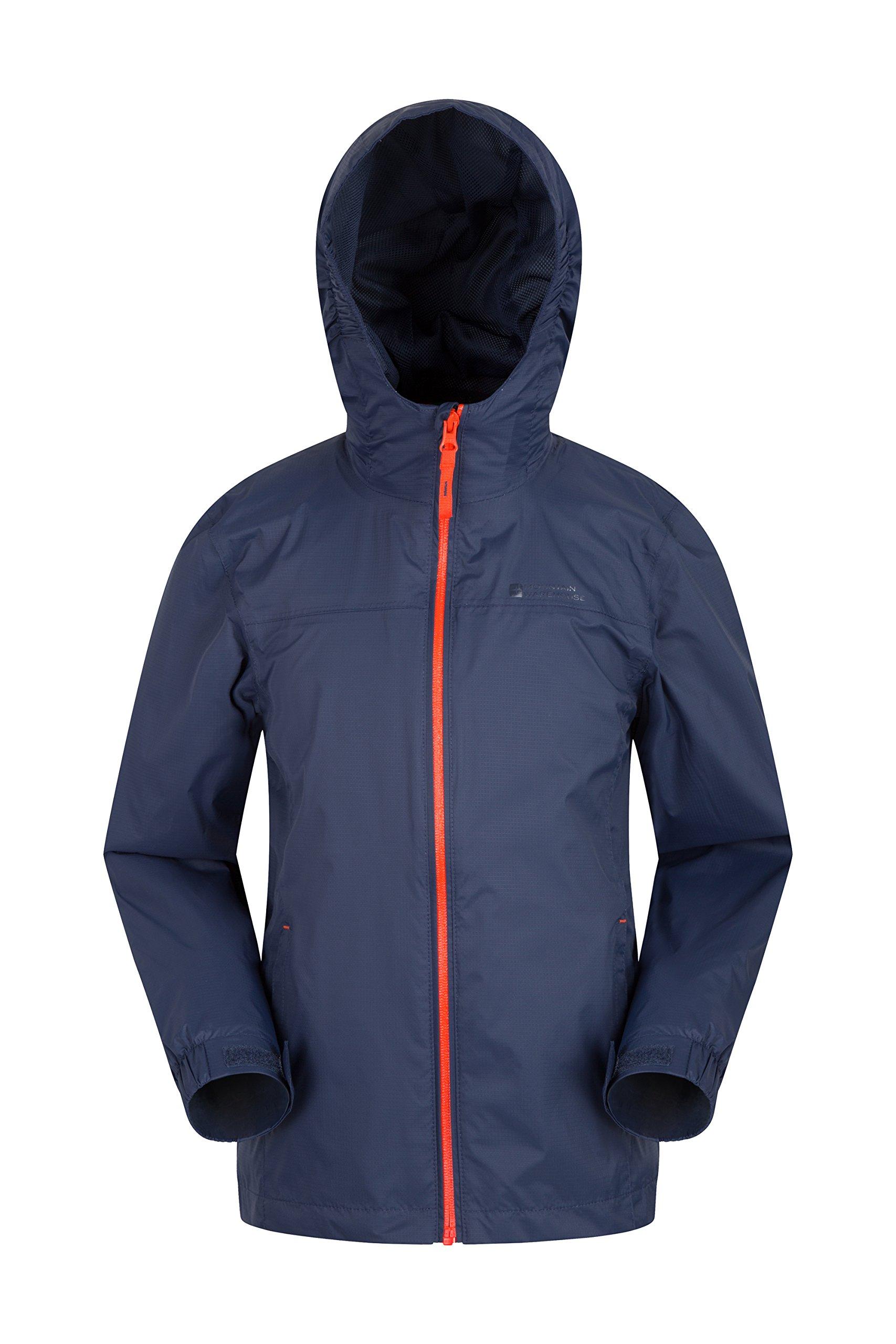 Mountain Warehouse Torrent Kids Jacket - Waterproof Rain Coat Dark Blue 9-10 Years
