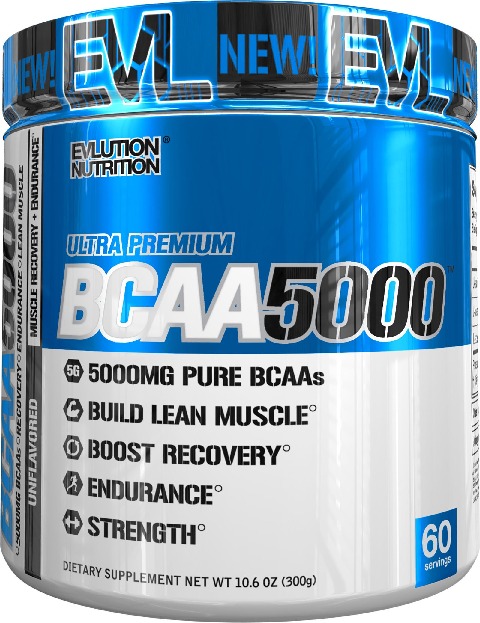 Evlution Nutrition BCAA5000 Powder 5 Grams of Premium BCAAs, 60 Servings (Unflavored)