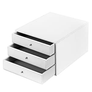 MyGift Executive 3-Drawer Leatherette Office Filing Document Cabinet Drawer Box, White