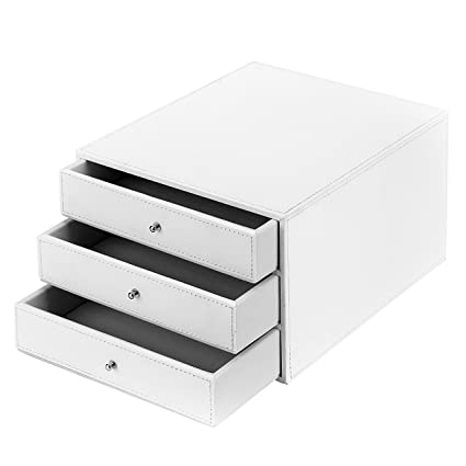 Merveilleux MyGift Executive 3 Drawer Leatherette Office Filing Document Cabinet Drawer  Box, White