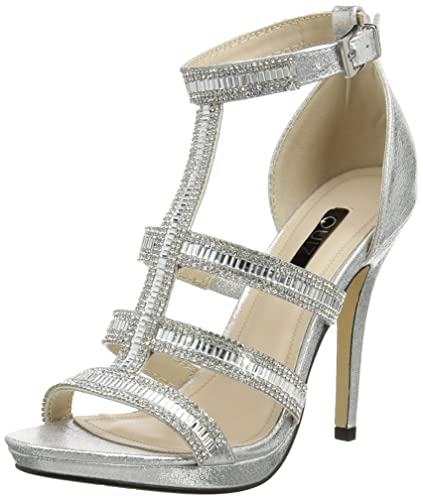 347de3d2bbe Quiz Women s Diamante Strap Cage High Sandals Open-Toe Heels ...