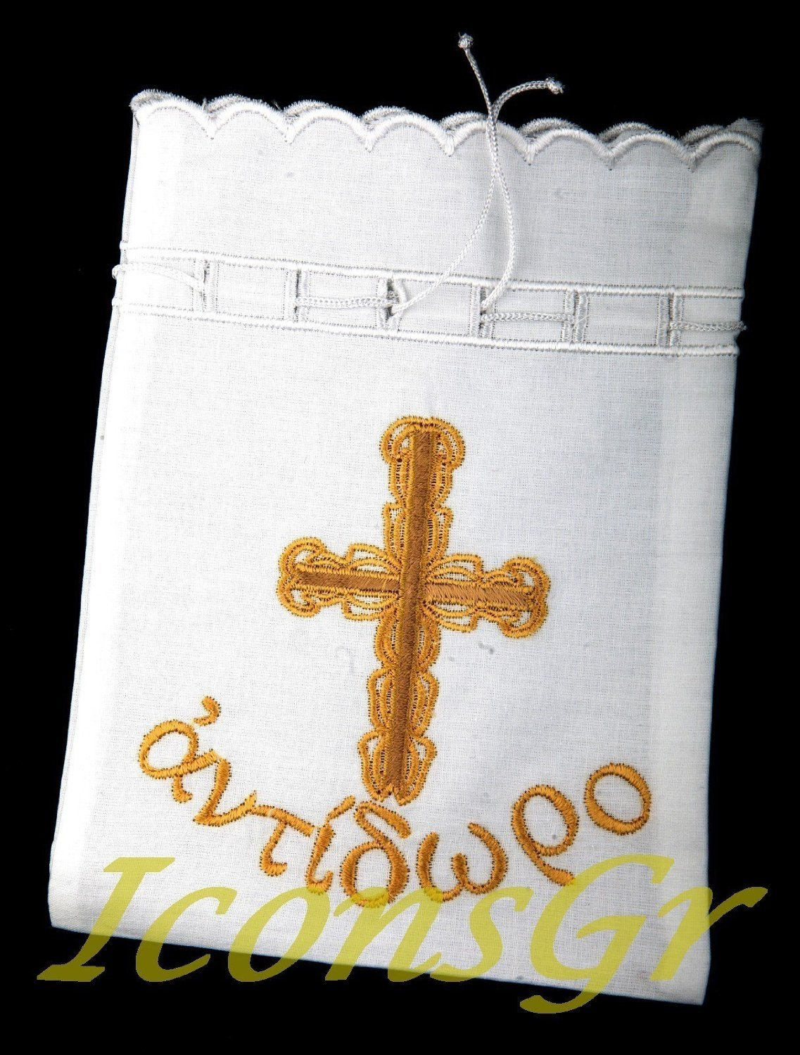 Christian ortodossa greca cotone gold-embroidered Antidoron sacchetto con croce No. 6 IconsGr