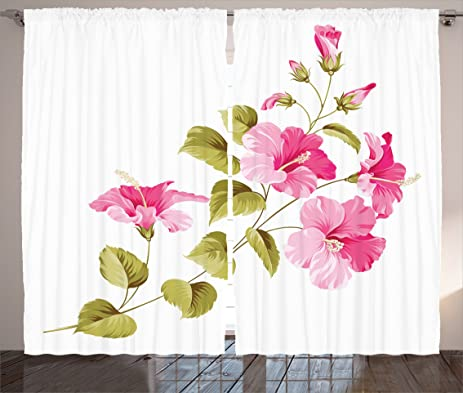 Amazon.com: Flower House Decor Curtains by Ambesonne, Tropic Wild ...