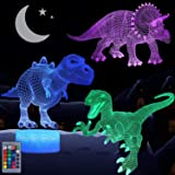 VSATEN Dinosaur Night Light for Kids, 3D Illusion Lamp 3-Pattern & 16 Colors Changing LED Dino Nightlight with Smart Touch &
