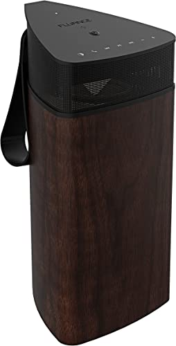 Fluance Fi20 High Performance Portable Wireless 360 Degree Speaker with Omni-Directional Sound, Bluetooth aptX Enhanced Audio, Wood Cabinet, 24 Hour Battery, Speaker Phone, Accent Light Walnut