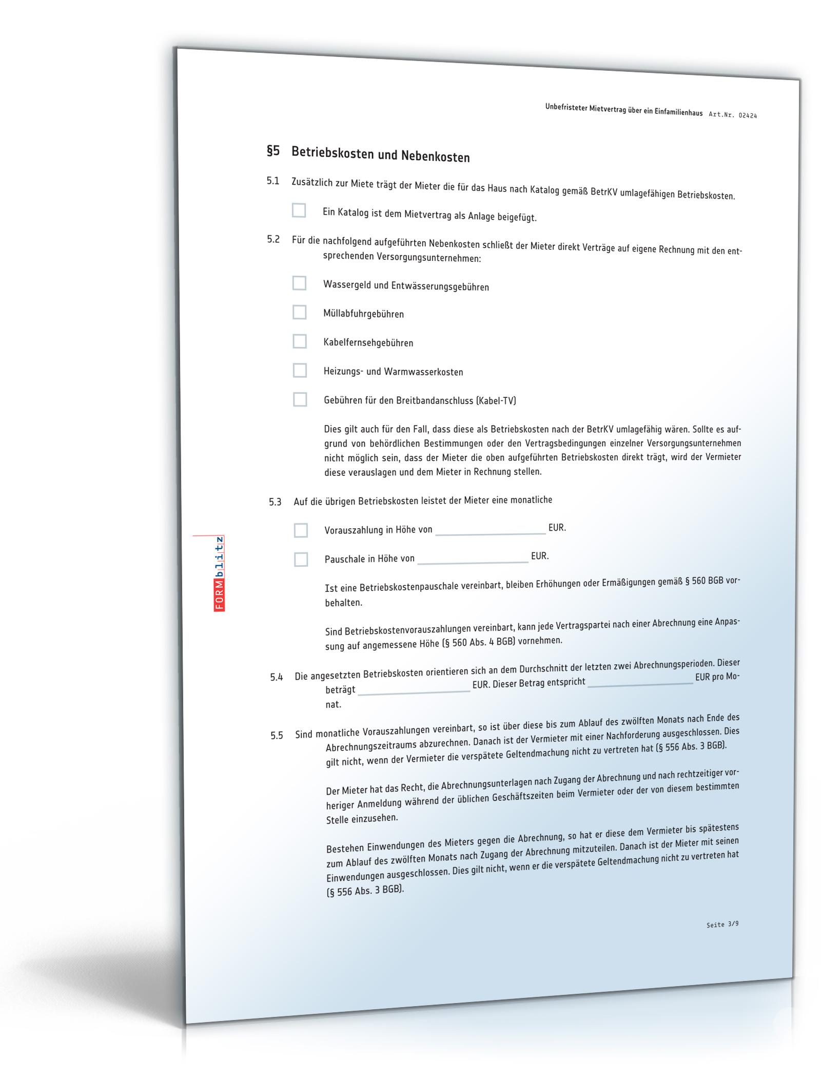 Mietvertrag Einfamilienhaus Pdf Standardmietvertrag Für Ein Haus