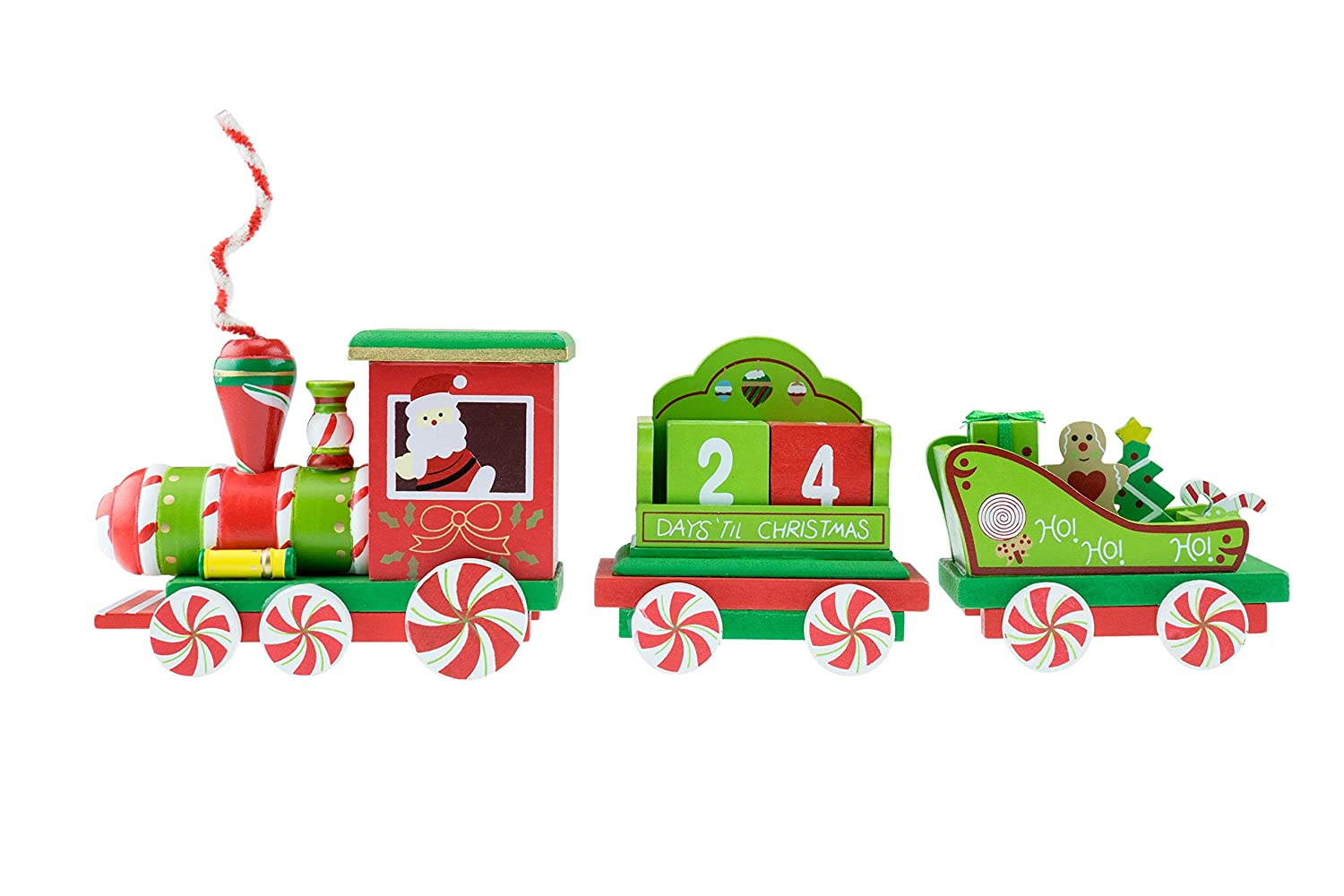 Clever Creations Train Candy Advent Calendar   Removable Cubes to Count Down Days   Peppermint Candy Painted Theme Train   Perfect Christmas Theme   Stands at 5 Tall Perfect for Shelves and Tables