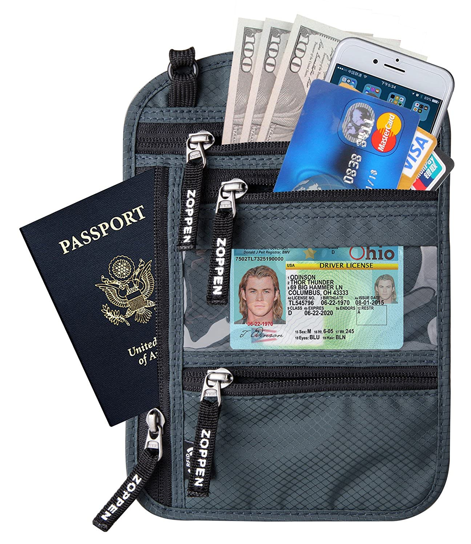 Blocking Travel Passport holder Neck Stash Ultra Slim Wallet Aqua Green Zoppen RFID