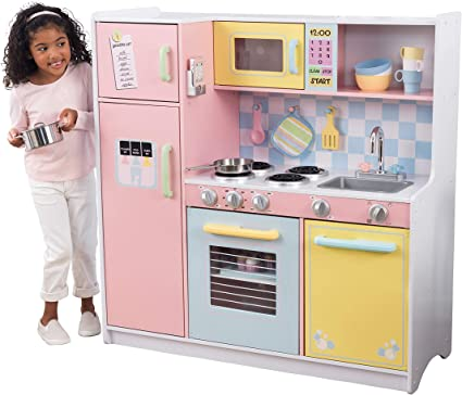 Amazon Com Kidkraft Kidkraft Wooden Large Pastel Play Kitchen With Turning Knobs See Through Doors And Play Phone Gift For Ages 3 Toys Games