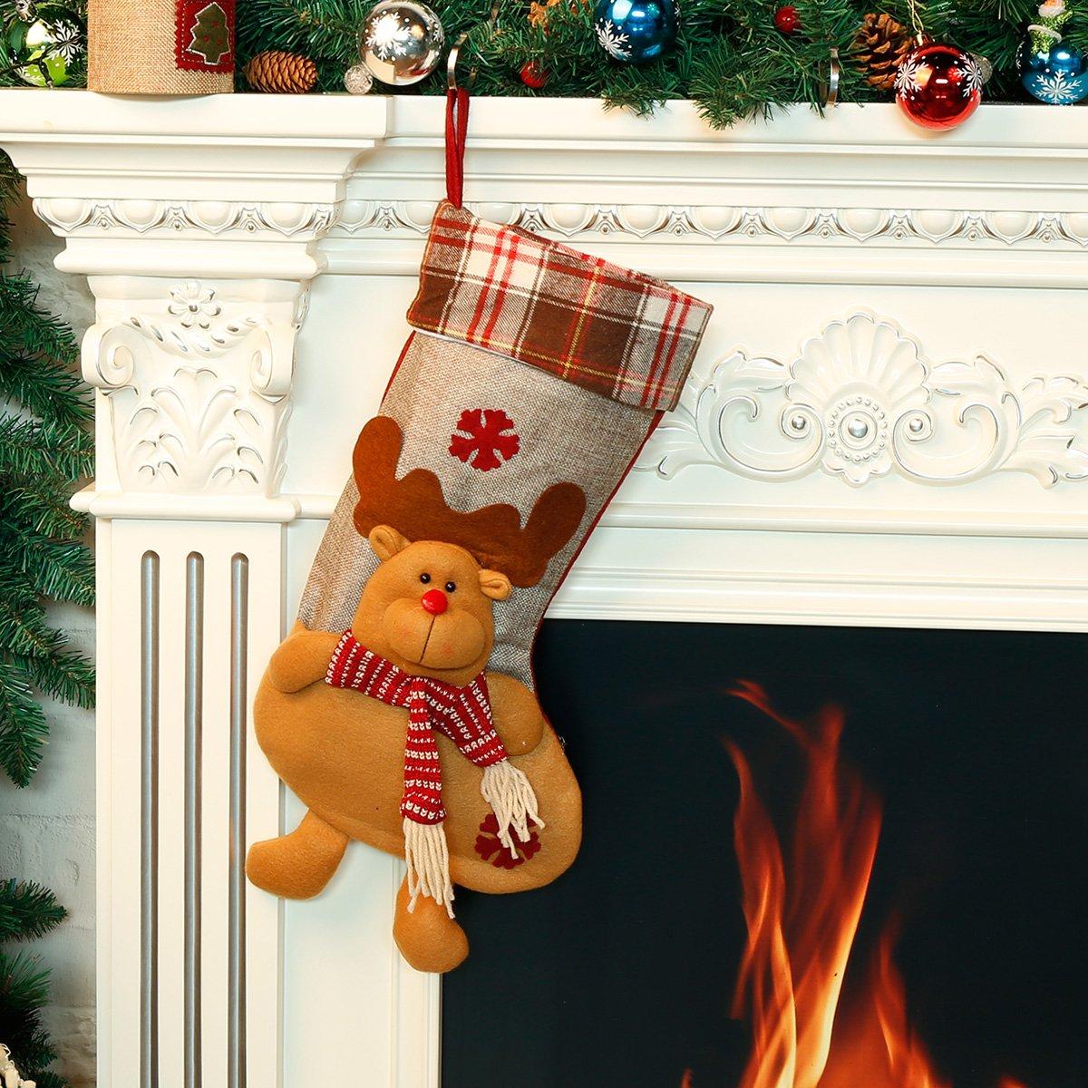 Totoose Weihnachtsstrumpf Weihnachtsstrümpfe Socken für Zuckerbeutel ...