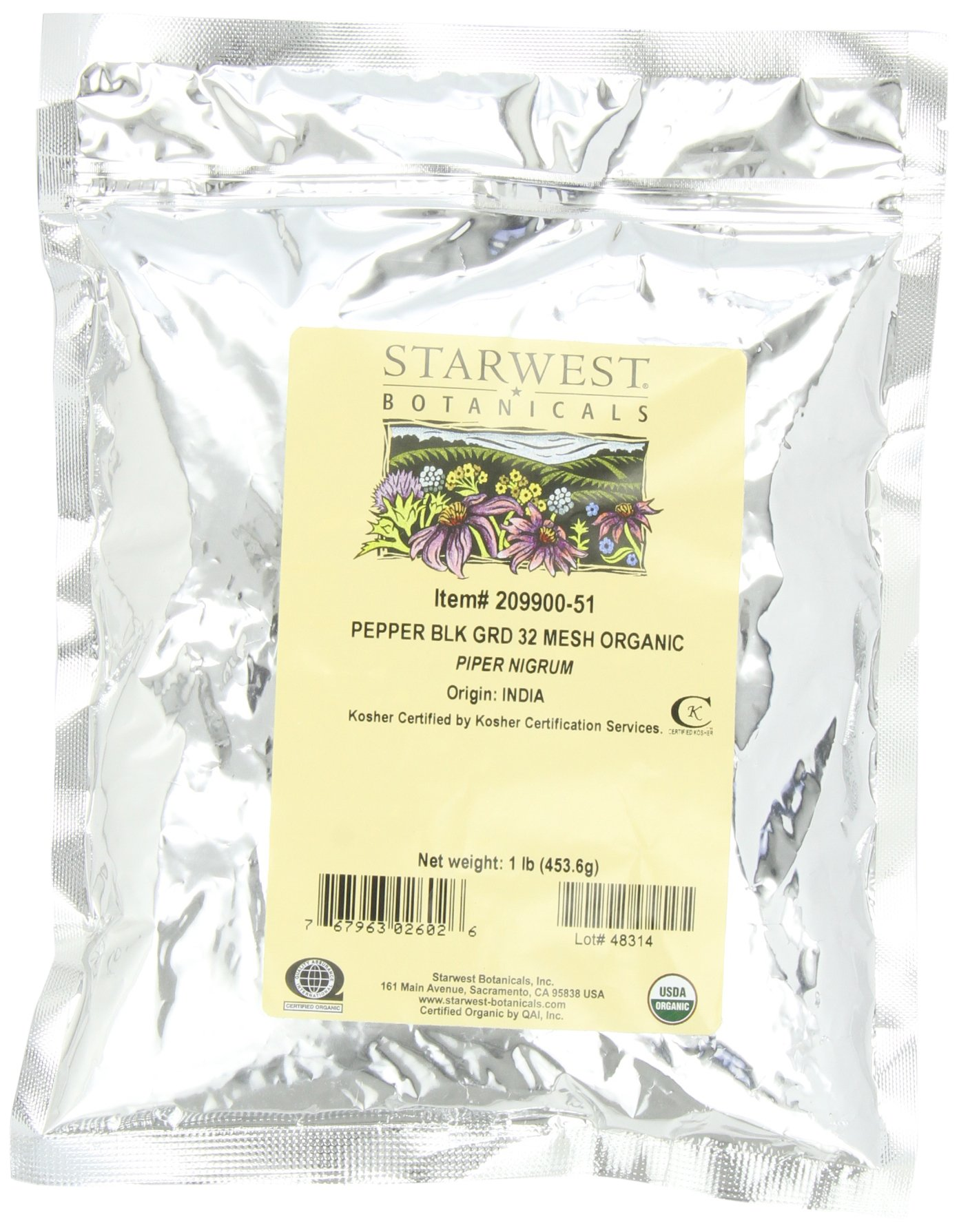 Starwest Botanicals Organic Pepper Black Medium Grind, 1-pound Bag