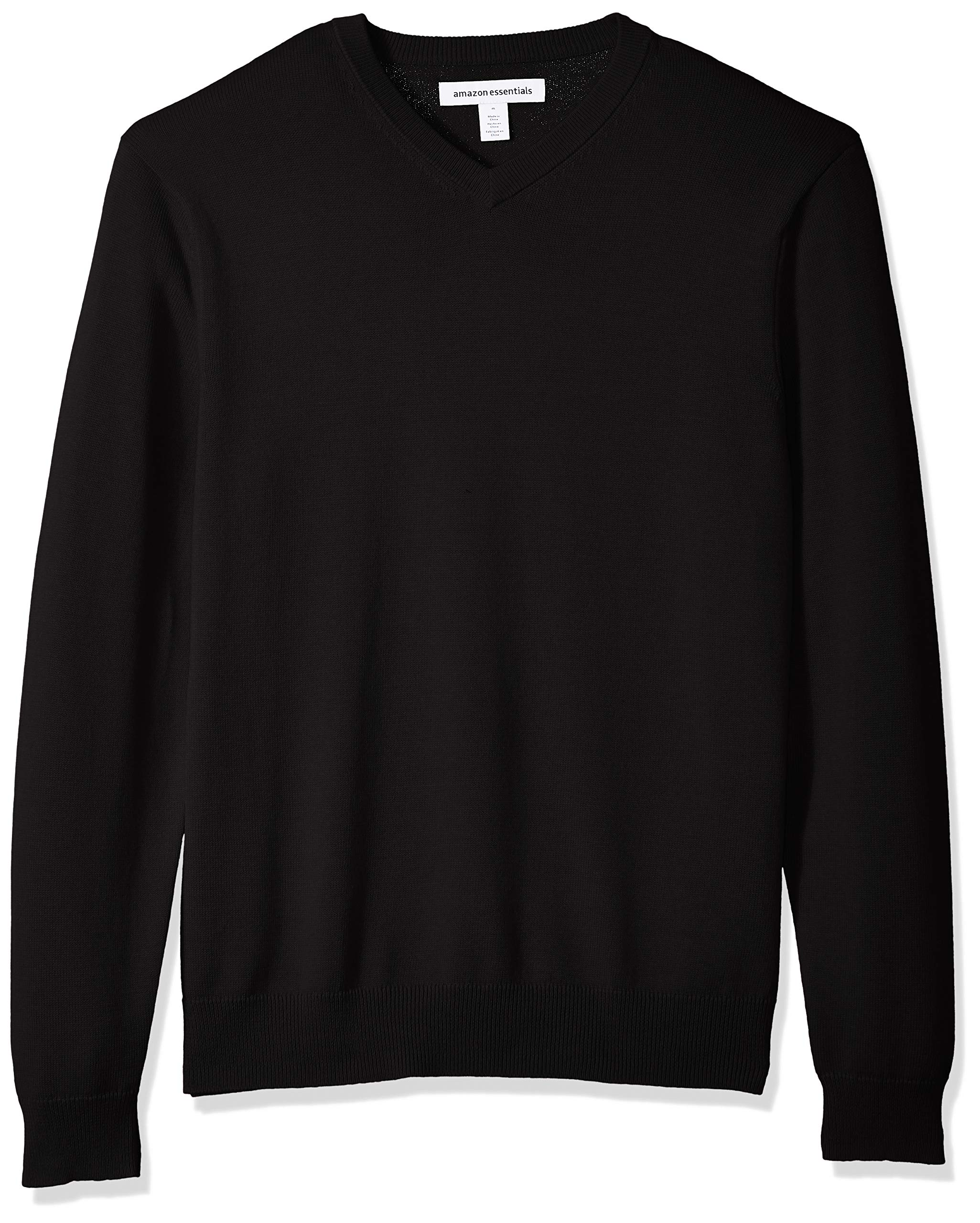 Amazon Essentials Men's Standard V-Neck Sweater, Black, X-Large