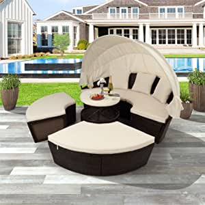Outdoor Patio Sectional Daybed with Retractable Canopy Modular Patio Wicker Daybed UV-Proof Resin Wicker Patio Sofa Set with Cushions, Pillows and Lifting Table, Beige