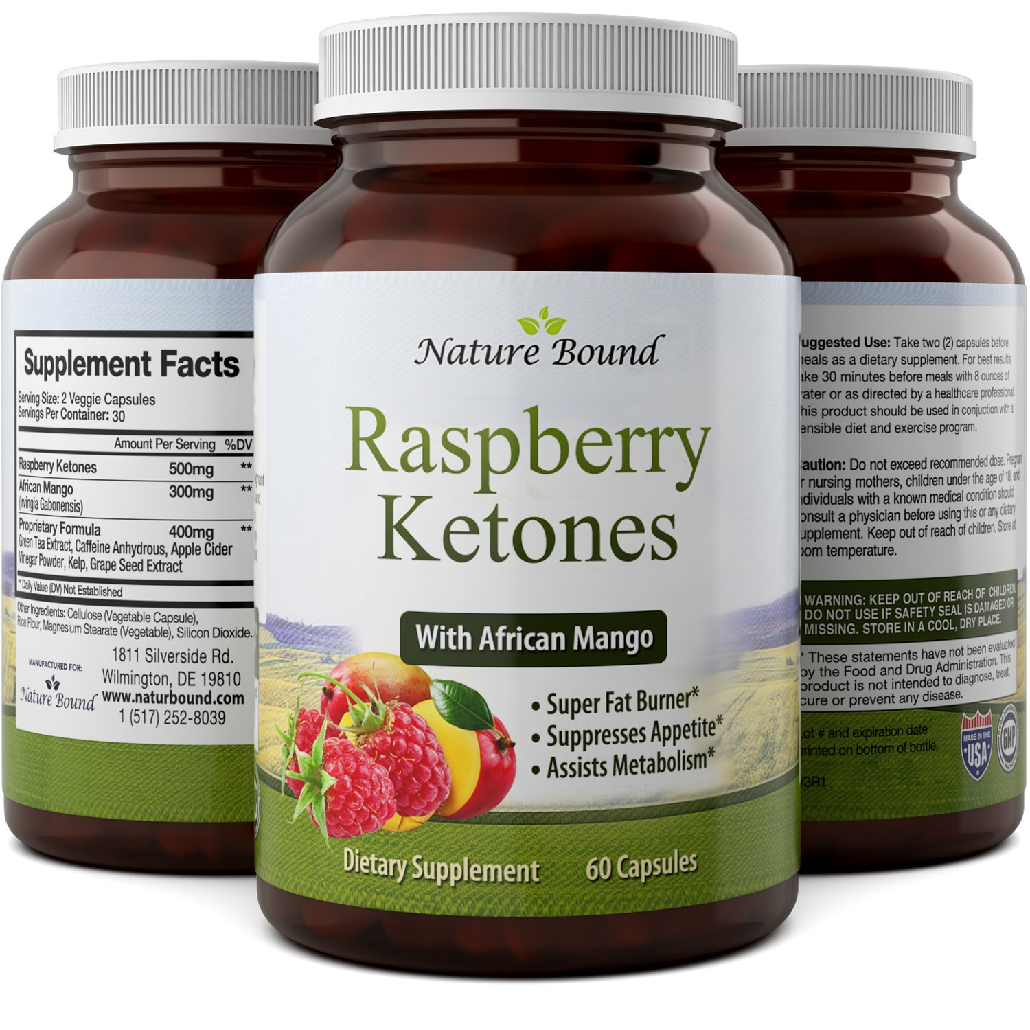 Blend Of Raspberry Ketones, Green Tea Extract And African Mango, Lose Weight Faster with Natural Ingredients To Speed Up Weight Loss, Suppress Appetite & Burn Fat, 60 Capsules by Nature Bound
