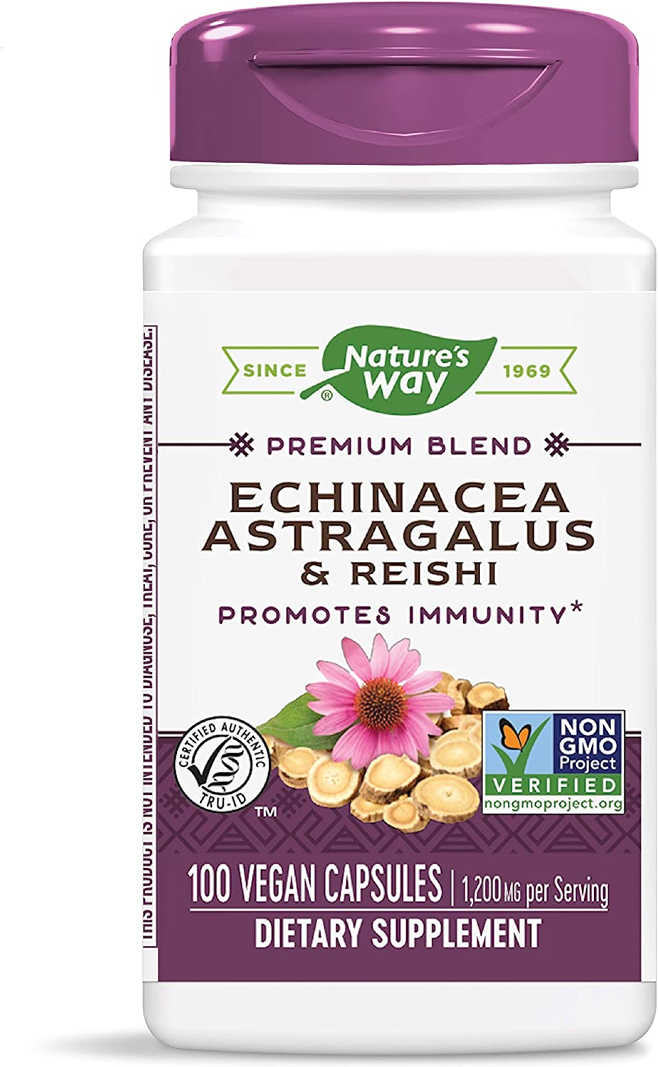Nature's Way Echinacea Astragalus & Reishi, 1,200 mg per serving, 100 Capsules