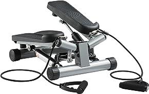 Ultrasport Swing Stepper inklusive Trainingsbändern/Hometrainer Stepper mit verstellbarem Widerstand und kabellosem Trainingscomputer – Up-Down-Stepper für Einsteiger und Trainierte, klein & kompakt