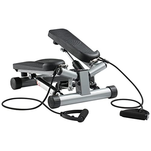 Ultrasport Swing Stepper inklusive Trainingsbändern/Hometrainer Stepper mit verstellbarem Widerstand und kabellosem Trainingscomputer – Up-Down-Stepper für Einsteiger und Trainierte, klein & kompakt
