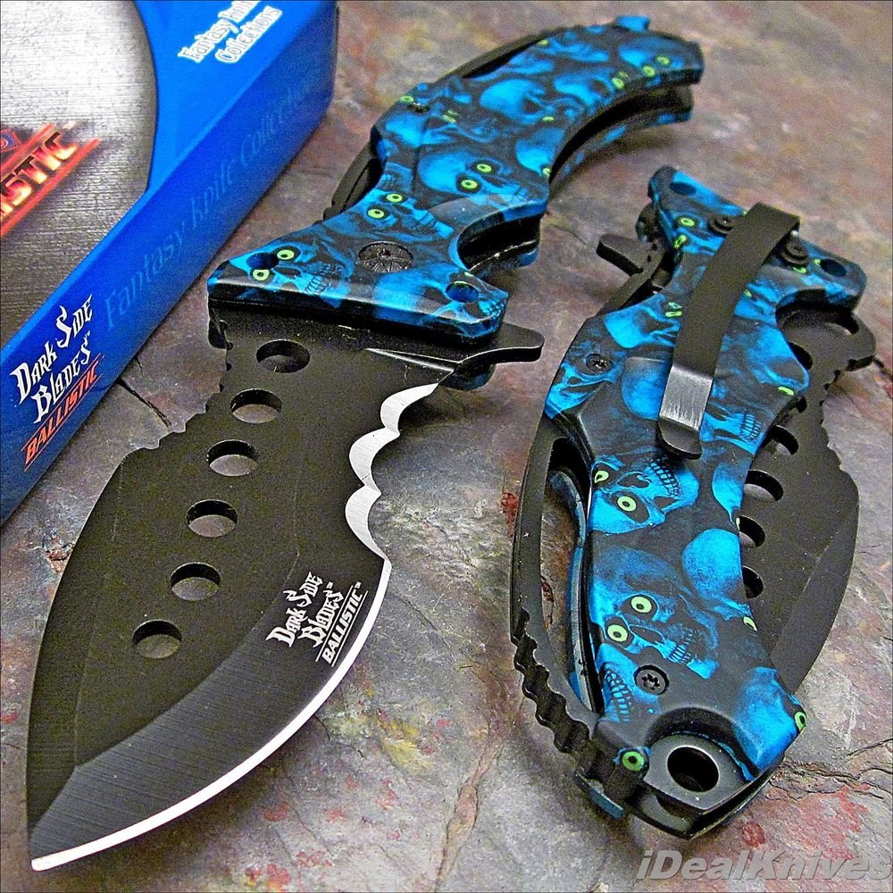 Kitchen Window Knife Fest 2016: DARK SIDE Spring Assisted Open BLUE SKULL CAMO Tactical