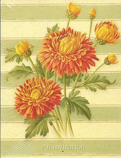 orange chrysanthemum garden party birthday invitations 8 count with