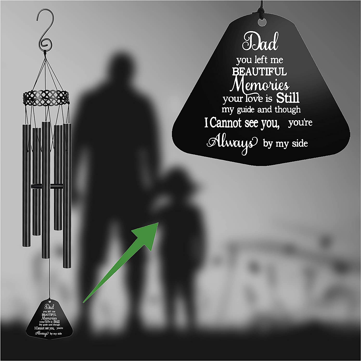 MEMGIFT Memorial Wind Chimes for Loss of Dad Sympathy Gifts Rememberance in Memorial Loss Father Large Angel Windchimes Outside Outdoor Garden Dad You Left me Beautiful Memories Your Love
