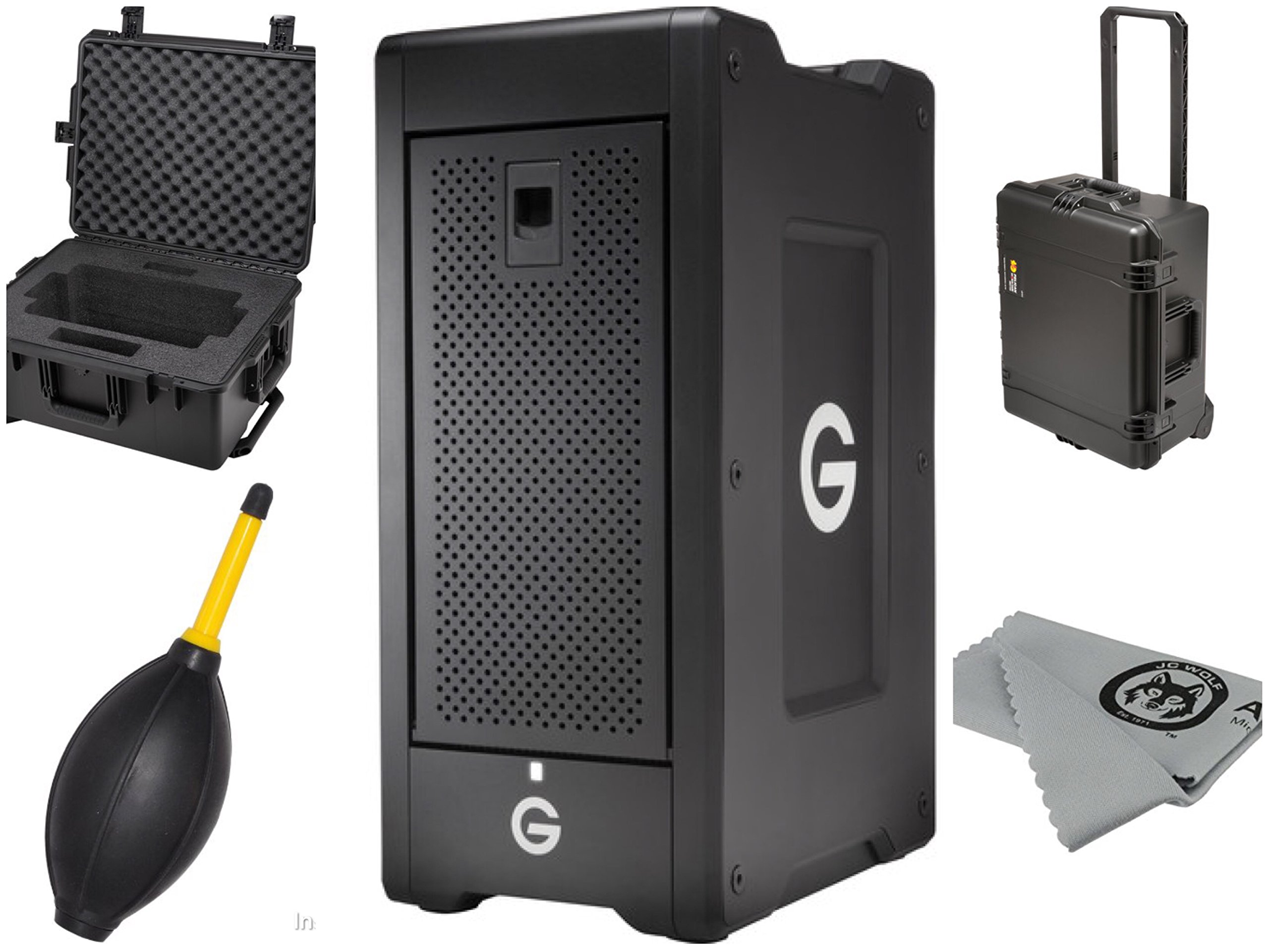 G-Technology G-SPEED Shuttle XL 64TB 8-Bay Thunderbolt 2 RAID Array (8 x 8TB) Bundle Includes G-SPEED Shuttle XL iM2720 Protective Case plus JC Wolf Cloth and Dust Blower 0G04659