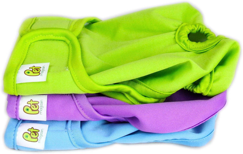 PET MAGASIN Pañales Reutilizables para Perros [Paquete de 3] Pañales Sanitarios para Mascotas, Altamente absorbentes, Lavables a máquina y ecológicos (Solid, L)