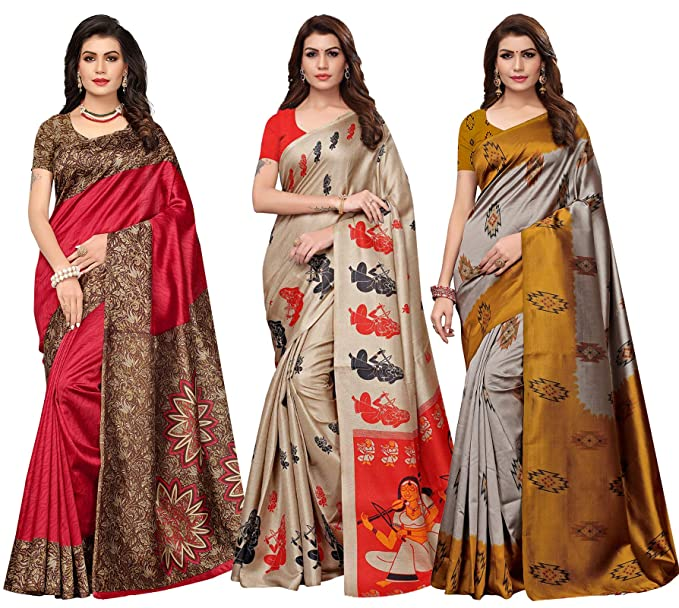 Ishin Combo Of 3 Poly Silk Multicolor Printed Women's Saree amazon wedding party marriage dresse.