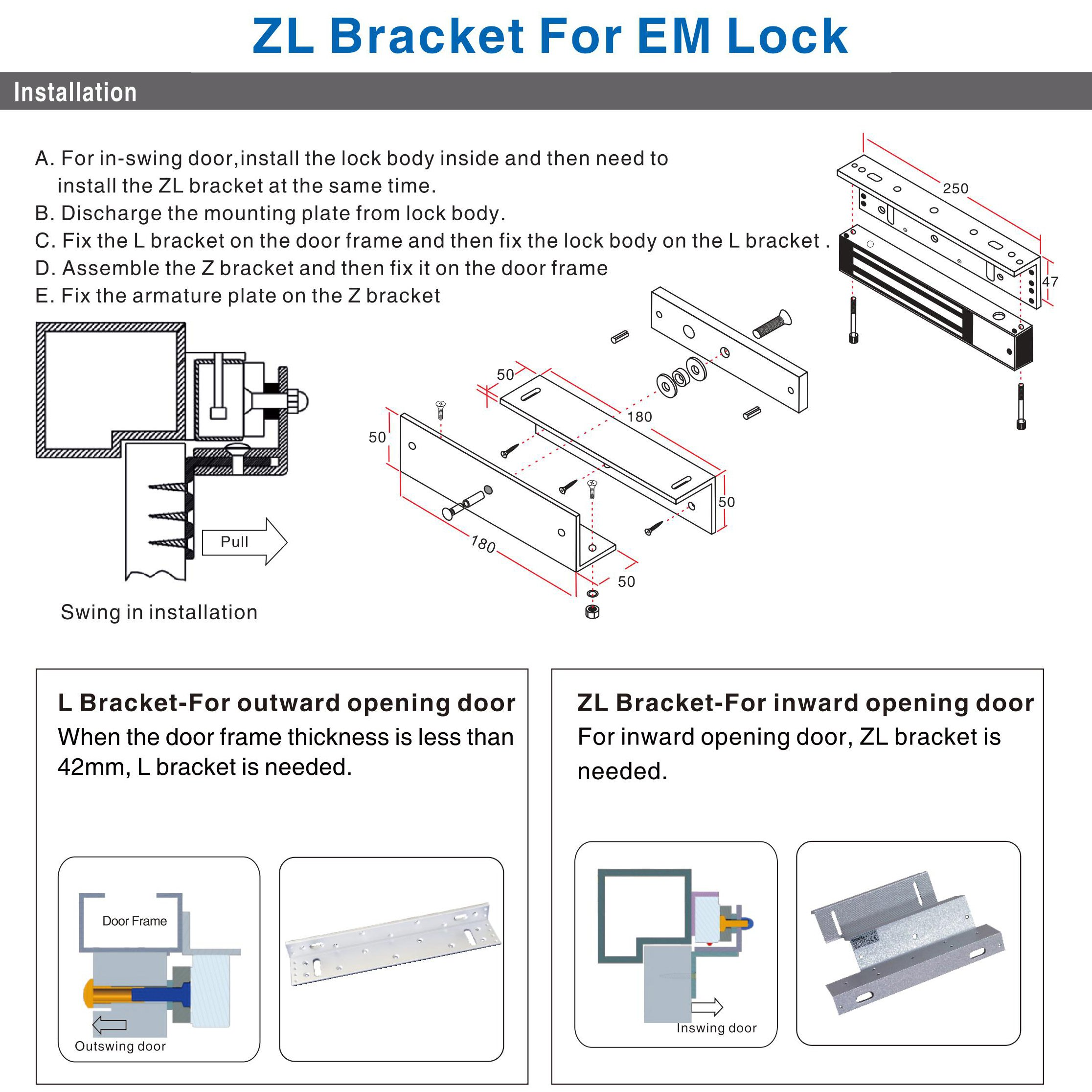 UHPPOTE ZL Holder Stand Bracket Clamp Support For 280KG 600lbs Force Holding Electric Magnetic Lock Inward Door by UHPPOTE (Image #5)