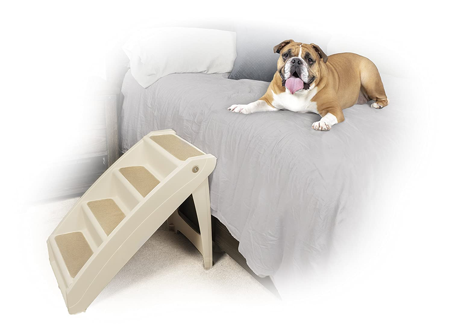 Plus XLarge PetSafe Solvit PupSTEP Plus Pet Stairs, XLarge, Foldable Steps for Dogs and Cats, Best for Medium to Large Pets