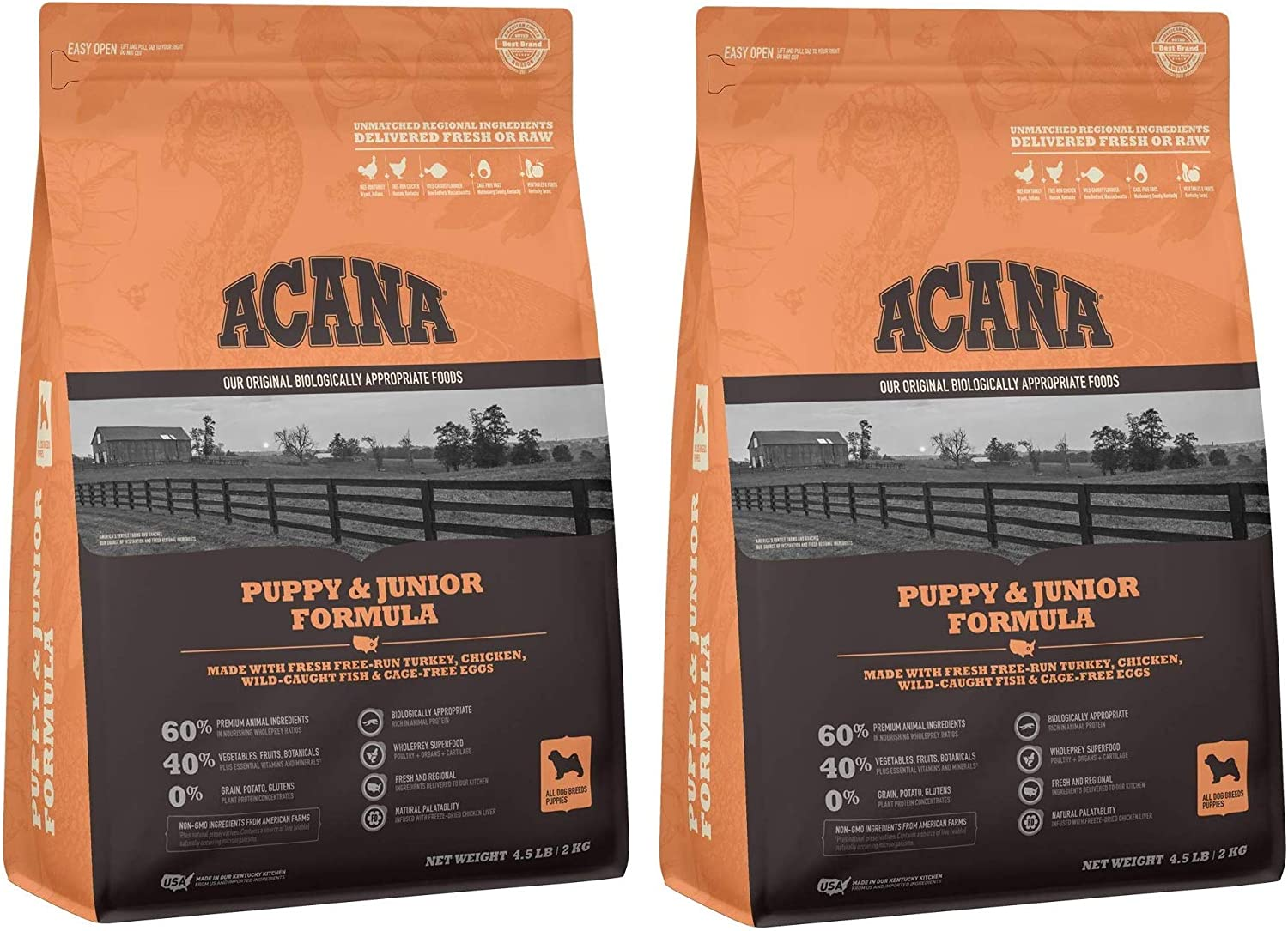 ACANA 2 Bags of Puppy & Junior Dry Dog Food, 4.5 Pounds Each, Grain-Free, Made in The USA