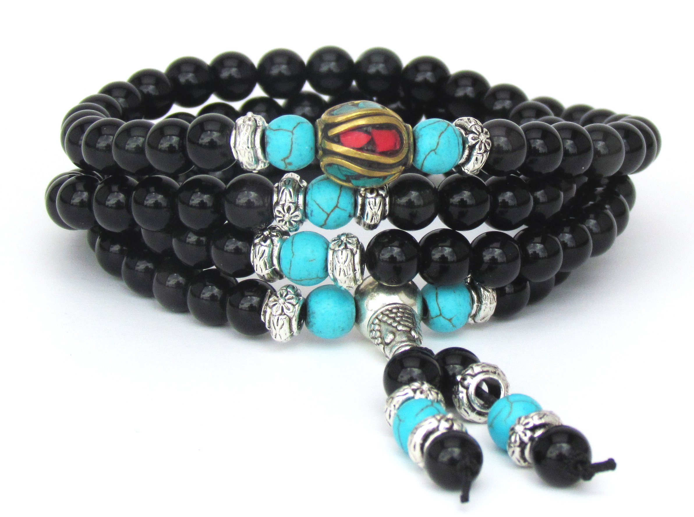 Mala Beads Multilayer Stretch Bracelet, Black Obsidian Blue Turquoise Buddhist Prayer Beads, Unique Gift