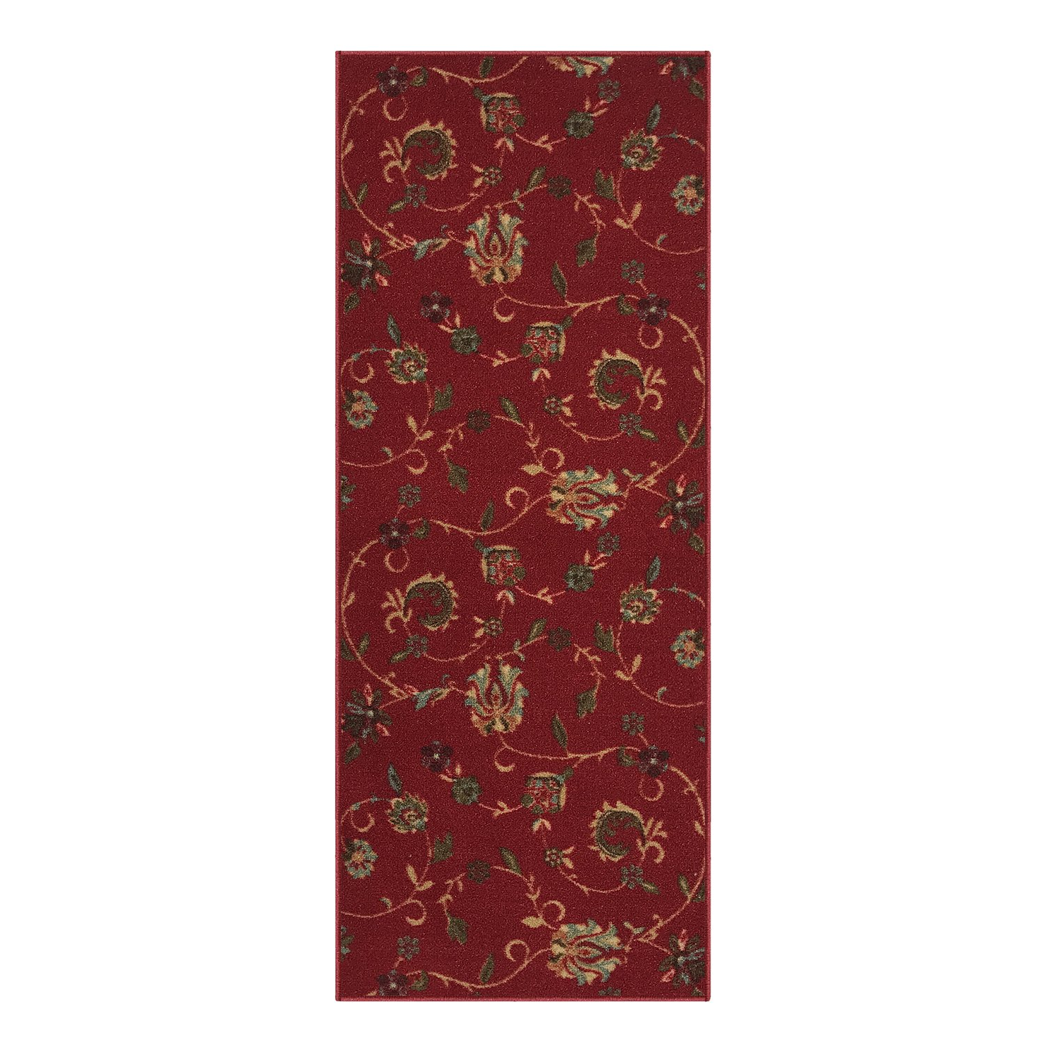 Kapaqua Custom Size RED Floral Rubber Backed Non-Slip Hallway Stair Runner Rug Carpet 31 inch Wide Choose Your Length 31in X 5ft