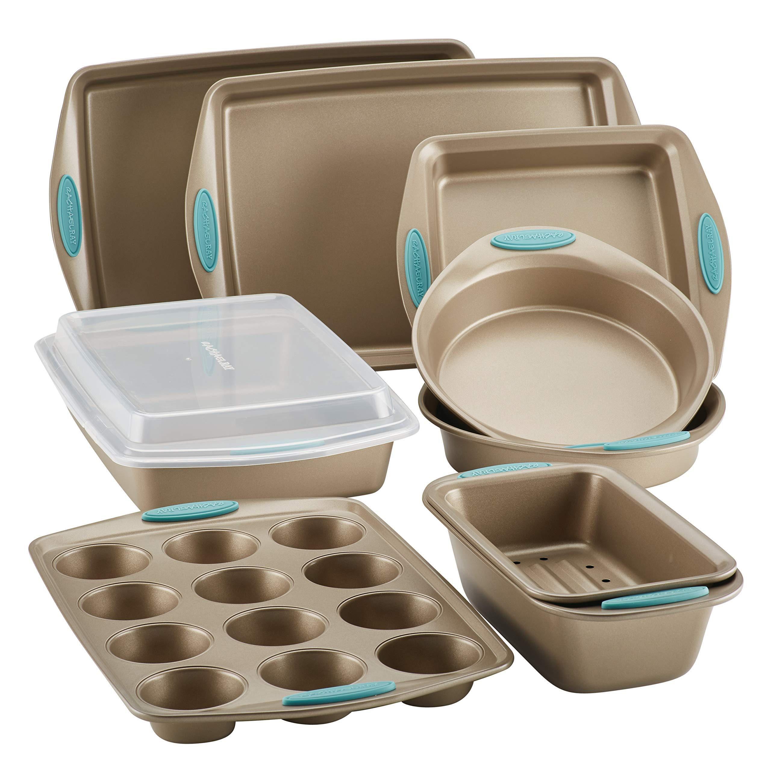 Rachael Ray Cucina Nonstick Bakeware Set, 10-Piece, Latte Brown with Agave Blue Handle Grips (Renewed)