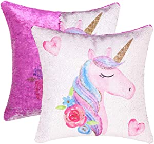 "cygnus Unicorn Mermaid Sequin Pillow Case Color Change Reversible Sequin Bedroom Decor Pillow Cover Unicorn Gifts for Girls or Boys 16""x16"" (Unicorn E-Purple Sequin)"
