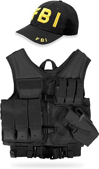 Munition und Zubeh/ör normani Swat Einsatzweste mit integriertem Pistolenholster und vielen Taschen f/ür Magazine