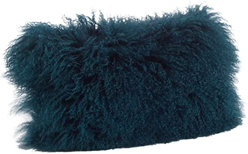 Occasion Gallery Teal Color Genuine Mongolian Real Lamb Fur Decorative Throw Pillow – Polyester Filled, 12 X 20 Rectangular