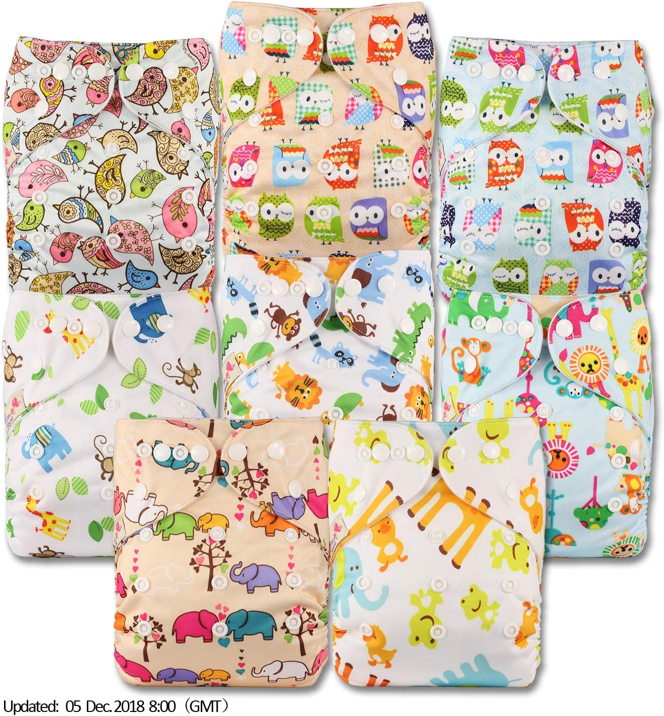 Patterns 808 with 8 Bamboo Charcoal Inserts Set of 8 Fastener: Popper Littles /& Bloomz Reusable Pocket Cloth Nappy