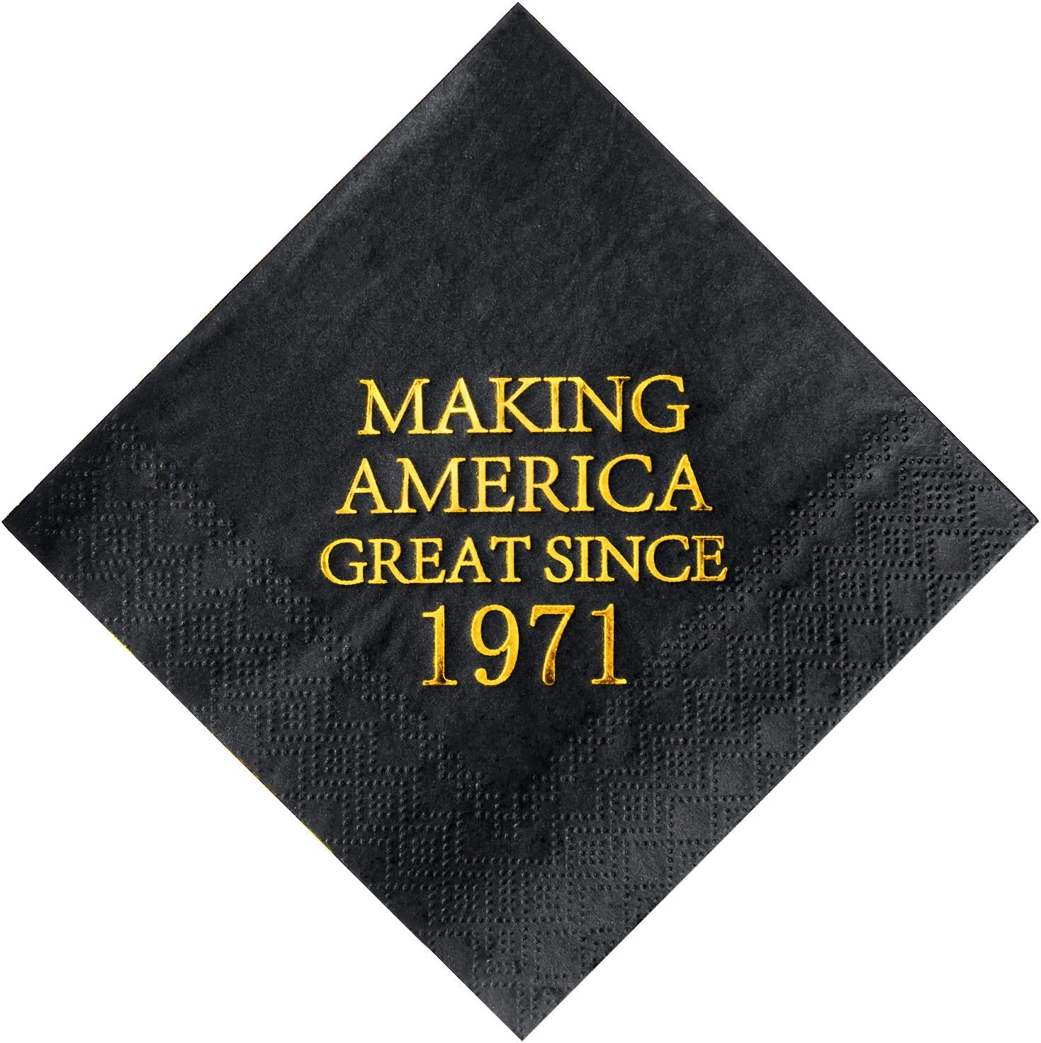 Crisky 50th Birthday Disposabel Napkins Black and Gold Dessert Beverage Cocktail Cake Napkins 50th Birthday Decoration Party Supplies for Man Making Great Since 1971, 50 Pack 4.9